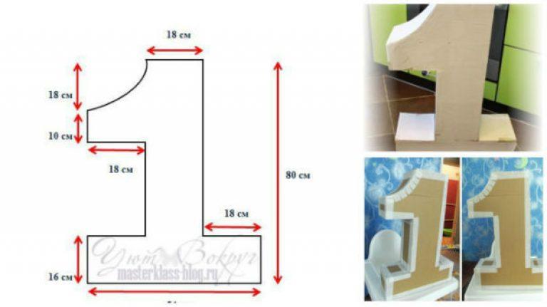 Как сделать объемную цифру 1 из картона пошагово
